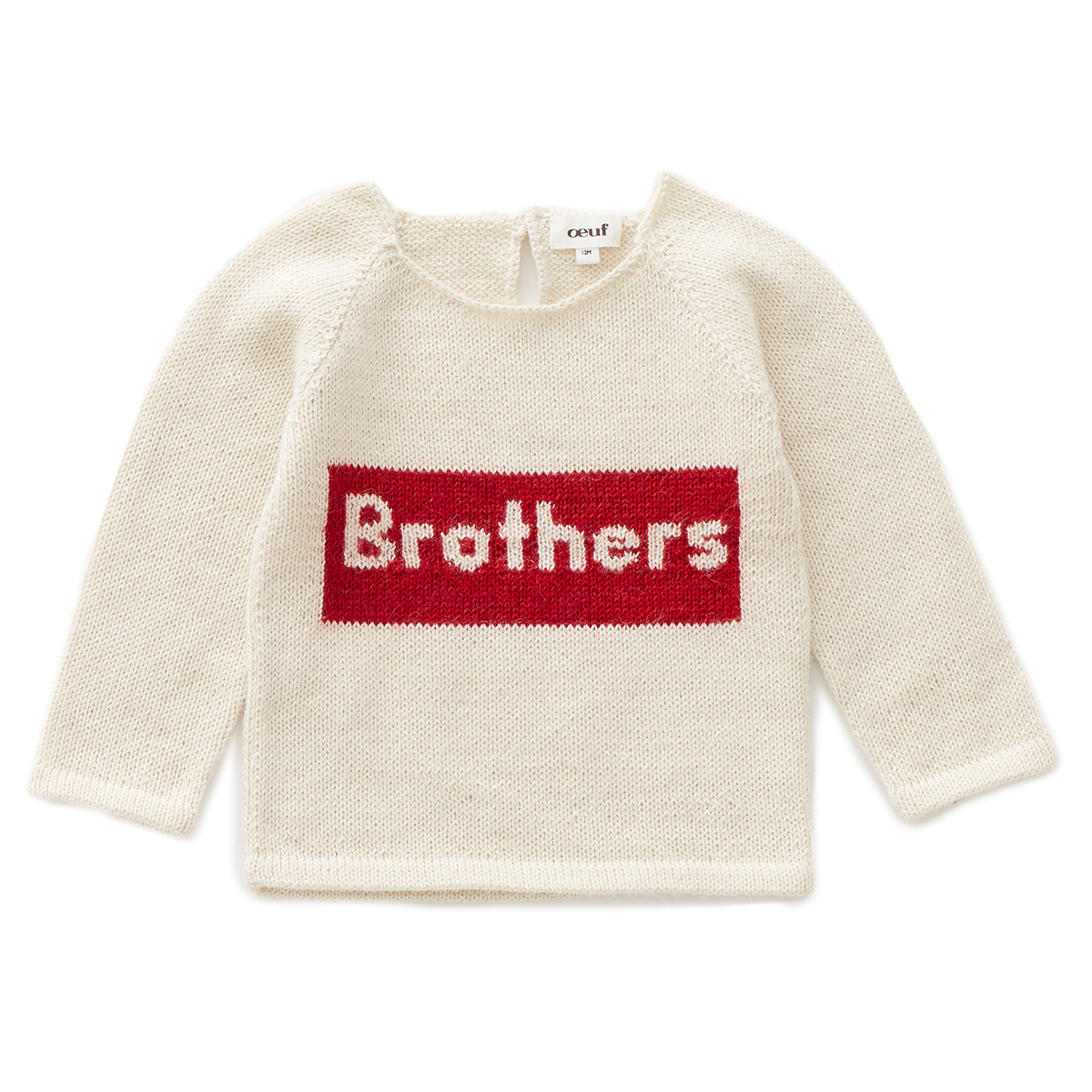 Oeuf Brothers Sweater in White w/ Red
