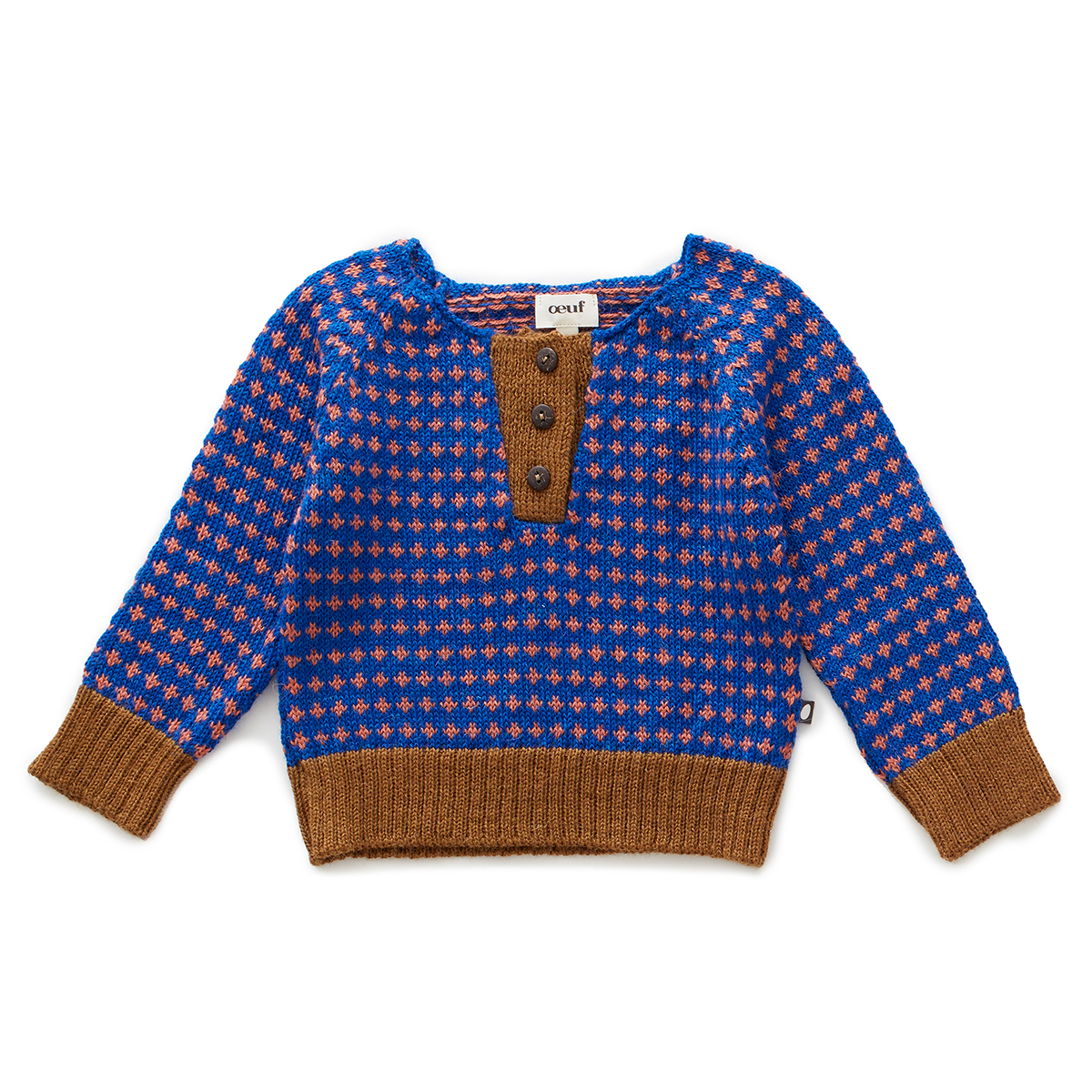 Oeuf Henley Sweater in Electric Blue