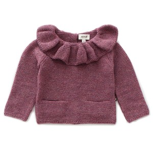 Oeuf Ruffle Neck Sweater in Mauve