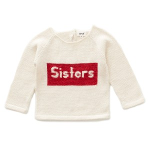 Oeuf Sisters Sweater in Beige w/ Red