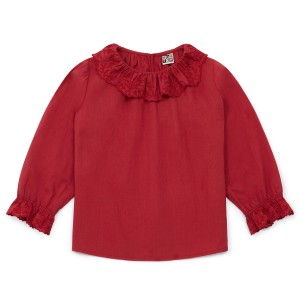 Bonton Longsleeve Embroidered Blouse in Red