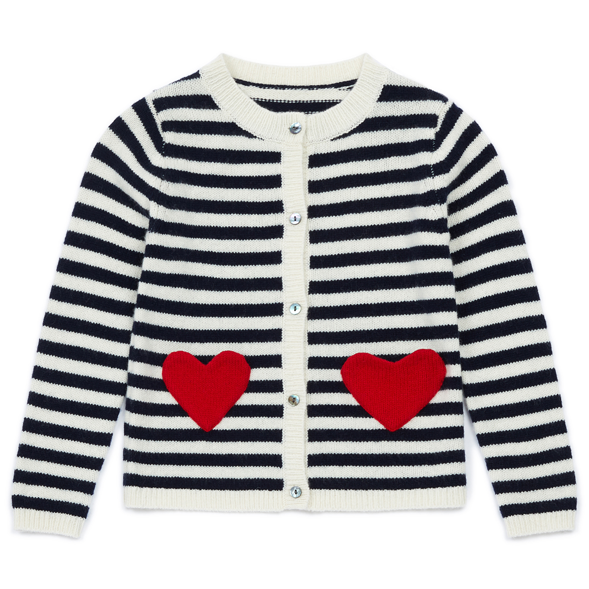 Bonton Striped Navy Cardigan with Heart Pockets