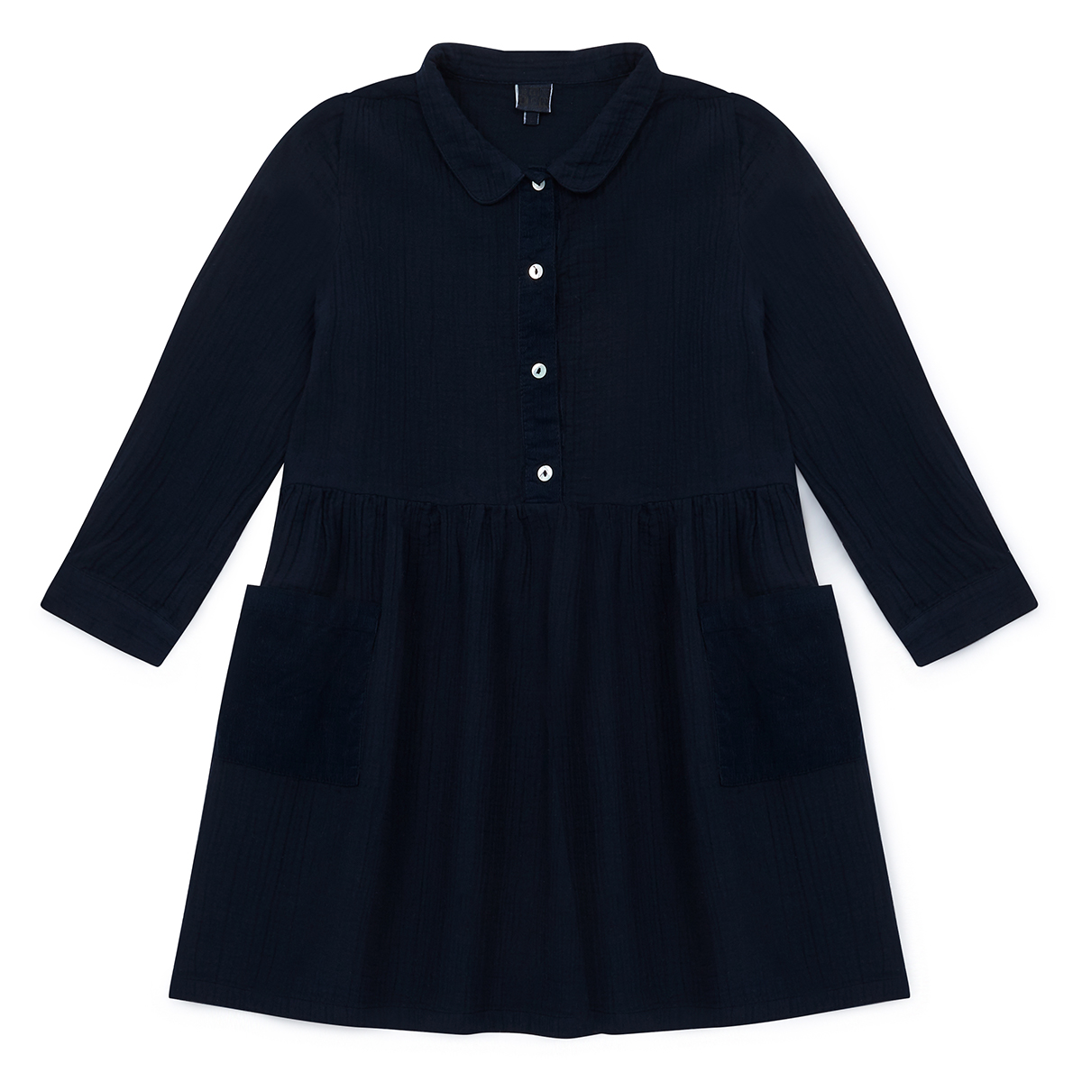 Bonton Double Cotton Navy Dress