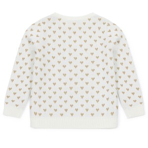 Bonton Heart Pullover Sweater in Off White