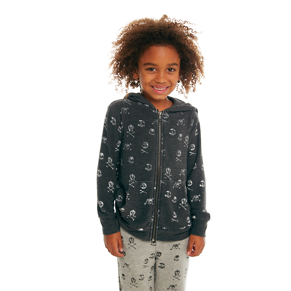 Chaser Cozy Knit Zip Up Hoodie in Black with skulls on Kid