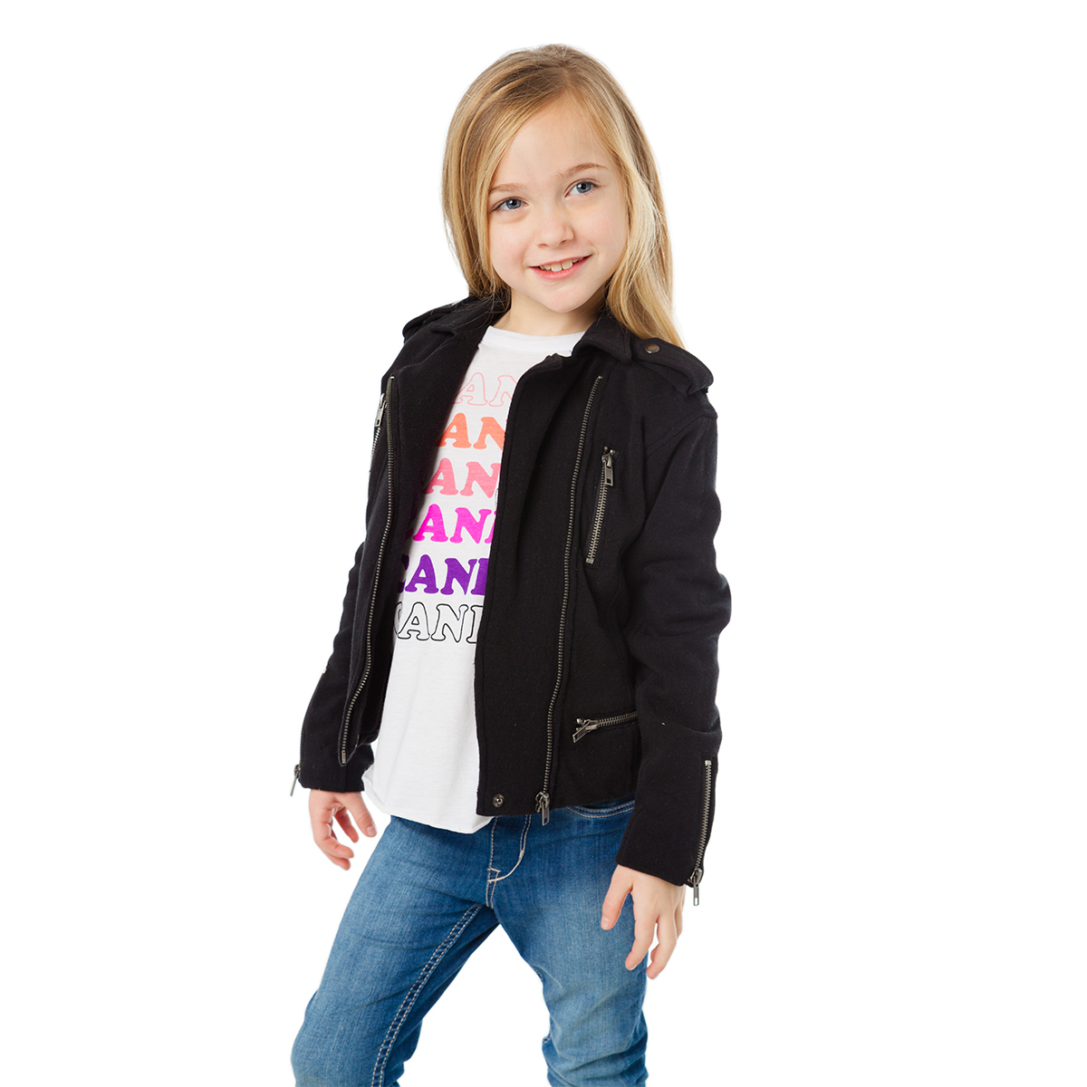 Chaser Fleece Moto Jacket in Black on Girl