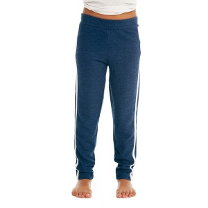 Chaser Cozy Knit Track Pant in Avalon Blue & White on kid