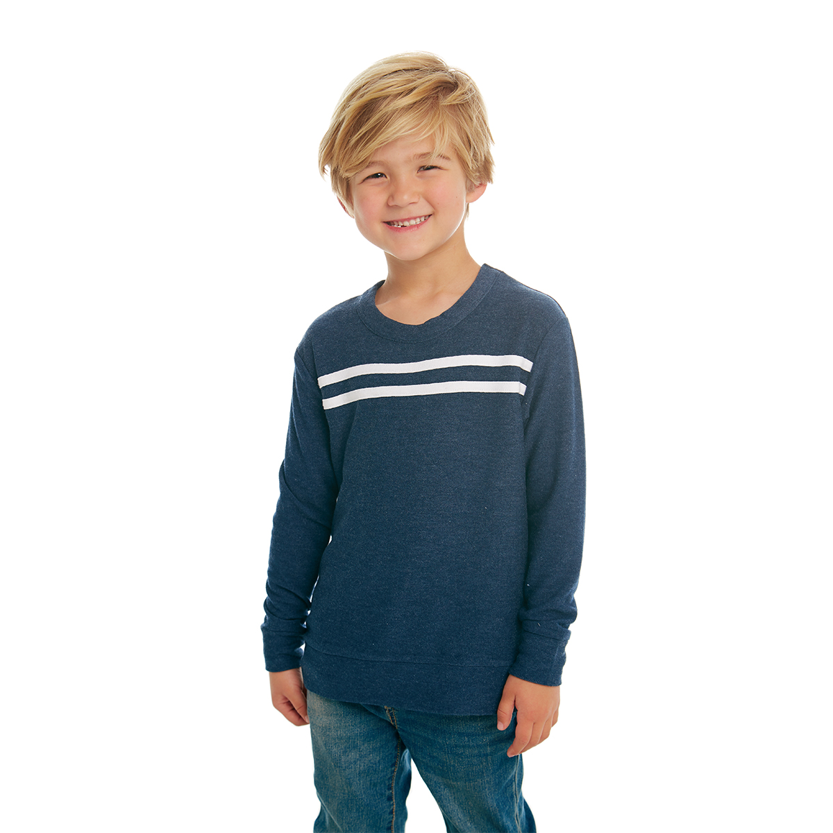 Chaser Cozy Knit Pullover with Strappings in Avalon Blue on kid