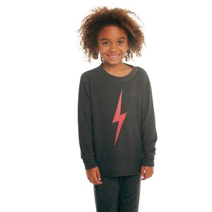Chaser Cozy Knit Crew Neck Pullover in Black with red on kid