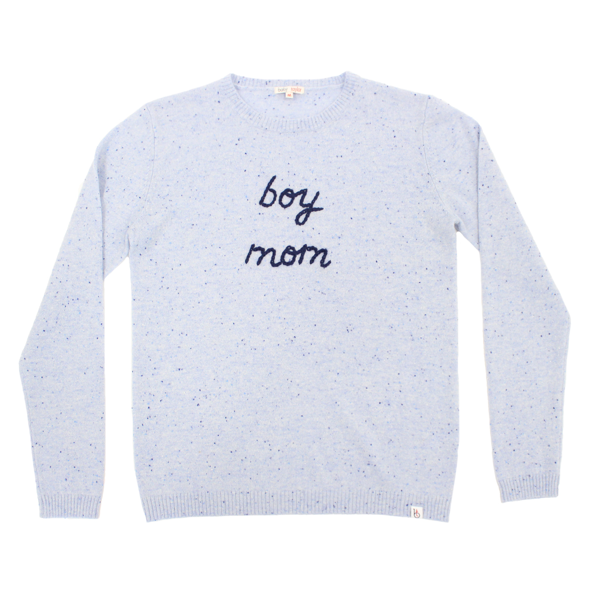 Baby & Taylor Adult Cashmere Sweater in Speckled Blue with navy embroidery