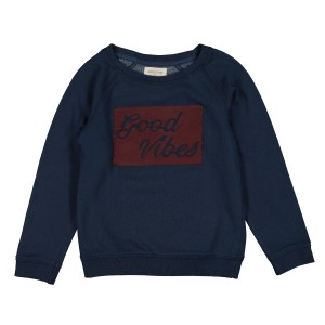 Louis Louise James Good Vibes Sweatshirt in Navy w/ Burgundy