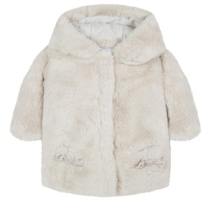 Tartine et Chocolate Faux Fur Coat in Off White