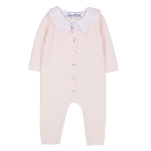 Tartine et Chocolate Embroidered Collar Onesie in Rose