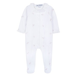 Tartine et Chocolate Flower Embroidery Footed Onesie in White
