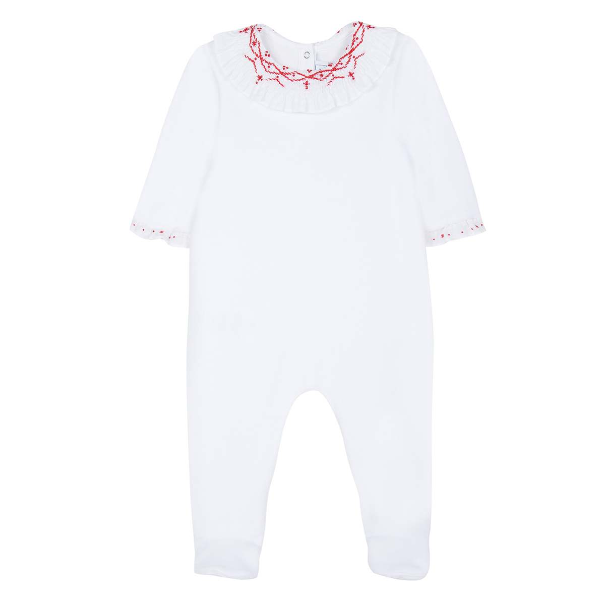 Tartine et Chocolate Footed Holiday Embroidered Collar Onesie