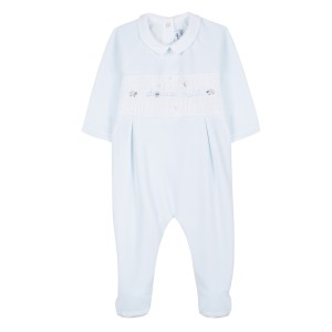 Tartine et Chocolate Sheep Embroidery Footed Onesie in Blue
