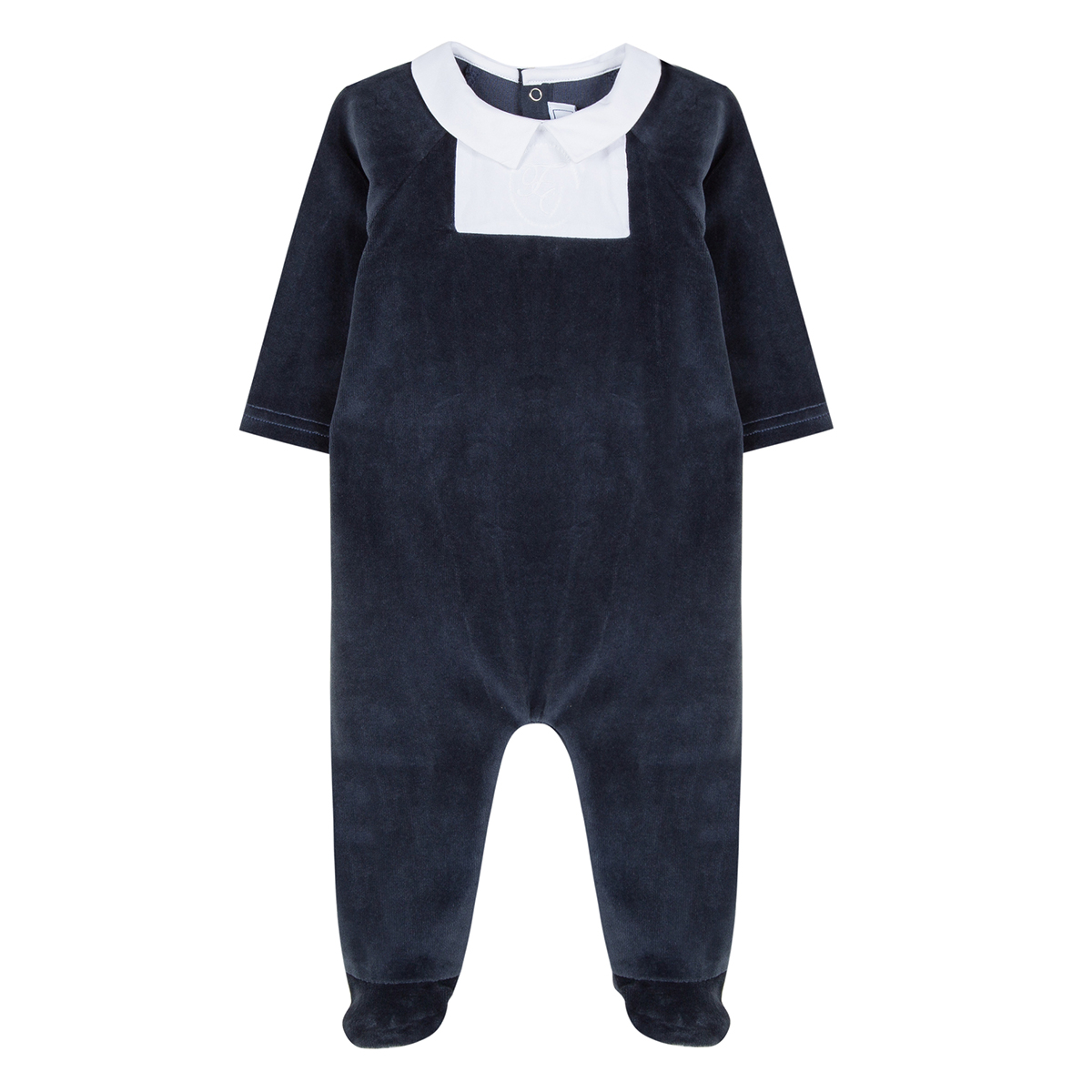 Tartine et Choclate Velvet Navy Footed Onesie
