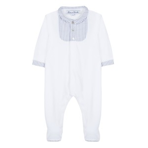 Tartine et Chocolate White and Blue Stripe collar onesie