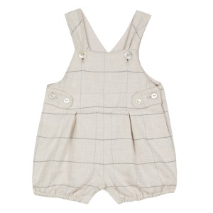 Tartine et chocolate Short Plaid Overall in Greige