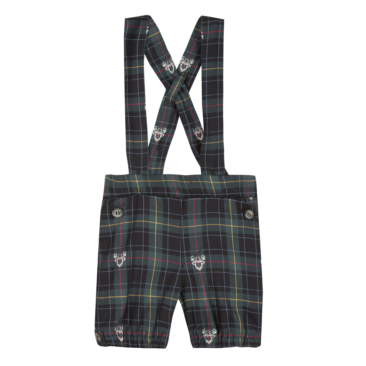 Tartine et Chocolate Plaid de Noel Shorts with suspenders