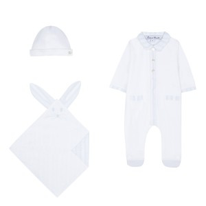 Tartine et chocolate Three Piece baby set with hat, bib, and onesie in blue