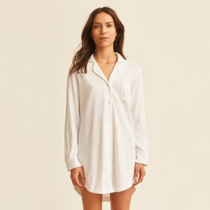 Skin Adrianna Sleepshirt in White on woman