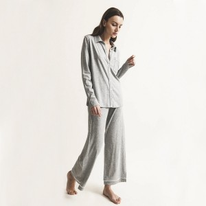 Skin Penelope PJ Set in Heather Grey on Woman