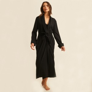 Skin Penelope Kahali Robe in Black on Woman