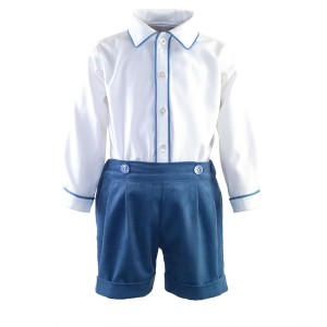 Rachel Riley Corduroy Short & Shirt Set in Blue & White
