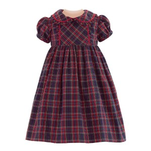 Rachel Riley Tartan Plaid Dress & Bloomer Set in Navy & Red