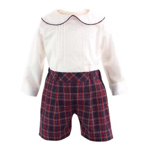 Rachel Riley Pintuck Shirt & Tartan Plaid Short Set