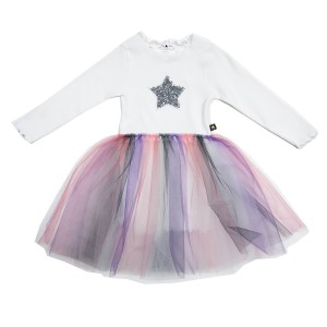 Petite Hailey 3 Gra Star Tutu Dress in White