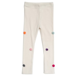 Petite Hailey Pom Pom Legging in Ivory