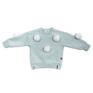 Petite Hailey Pom Pom Sweatshirt in Mint