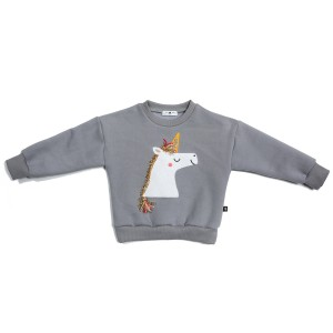 Petite Hailey Unicorn Sweatshirt in Grey