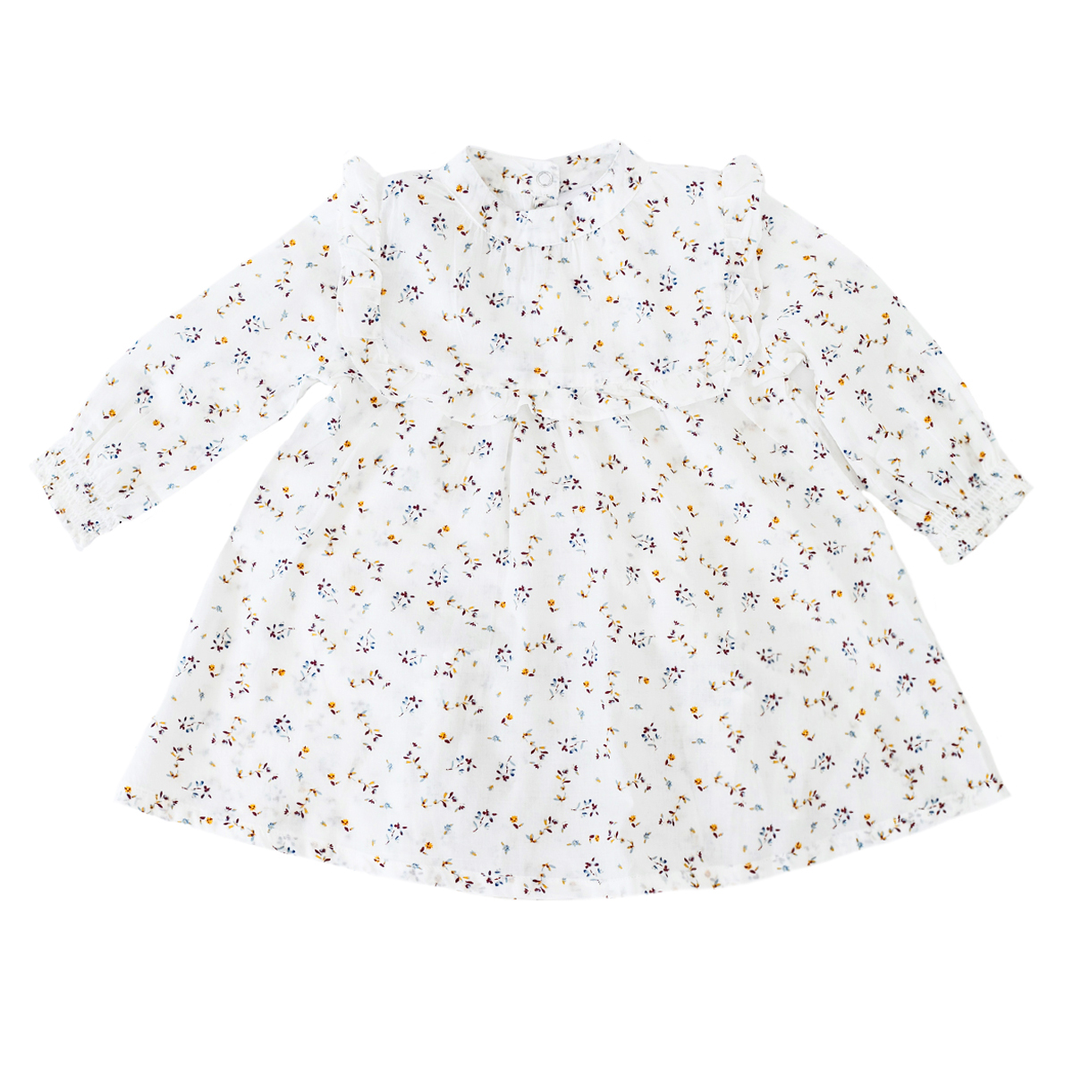 Madras Made Laguna Dress in White with Yellow & Navy Flowers