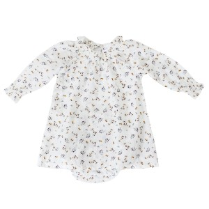 Madras Made Bali Top in White w/ Yellow Flowers