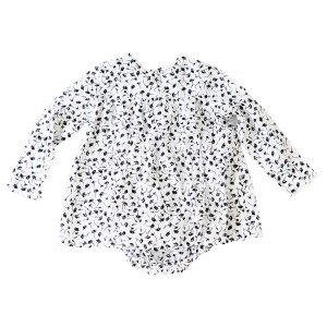 Madras Made Lily Top in White with Black Flowers