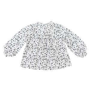Madras Made Petunia Top in White with Black Flowers