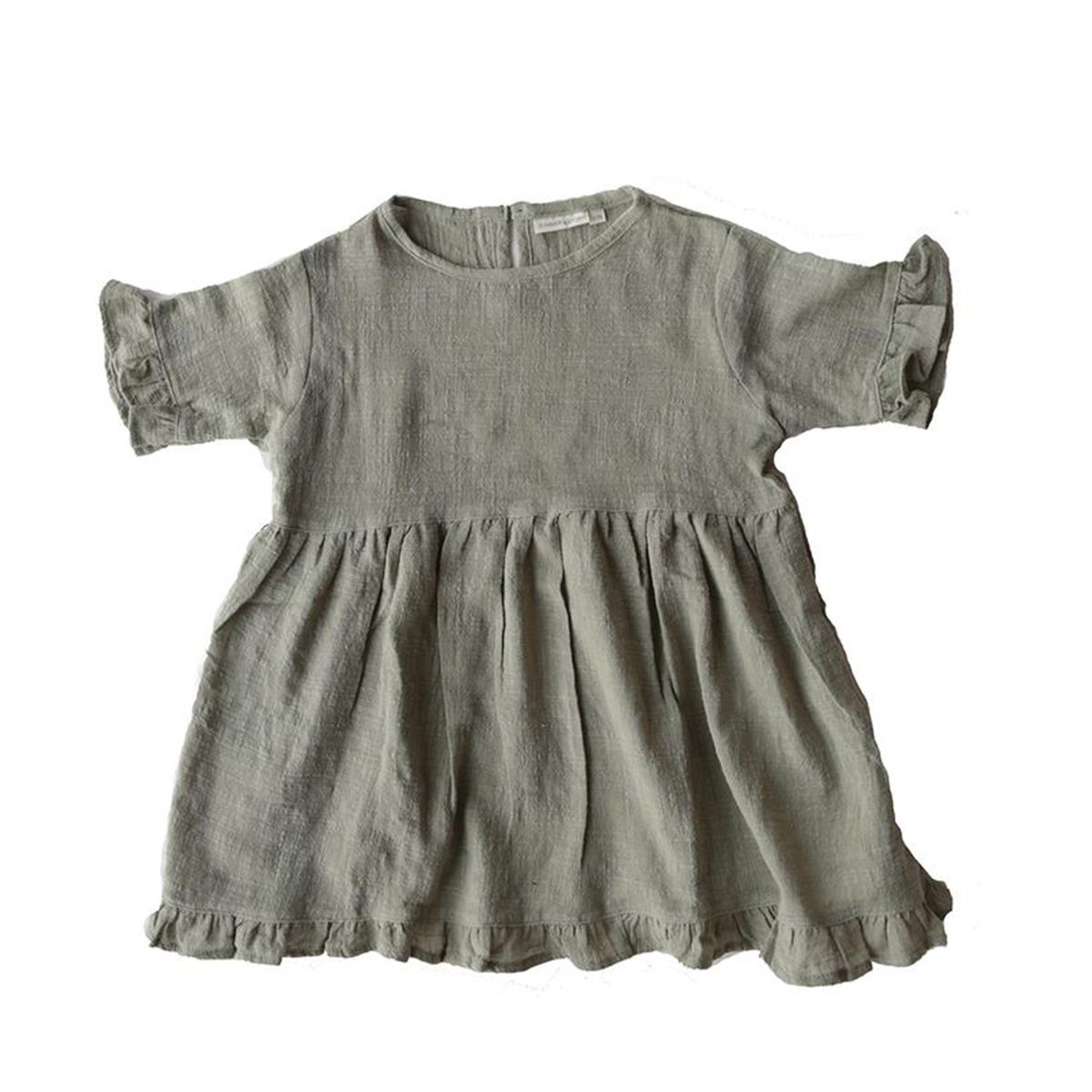 Summer and Storm Textured Frill Dress in Elm Green
