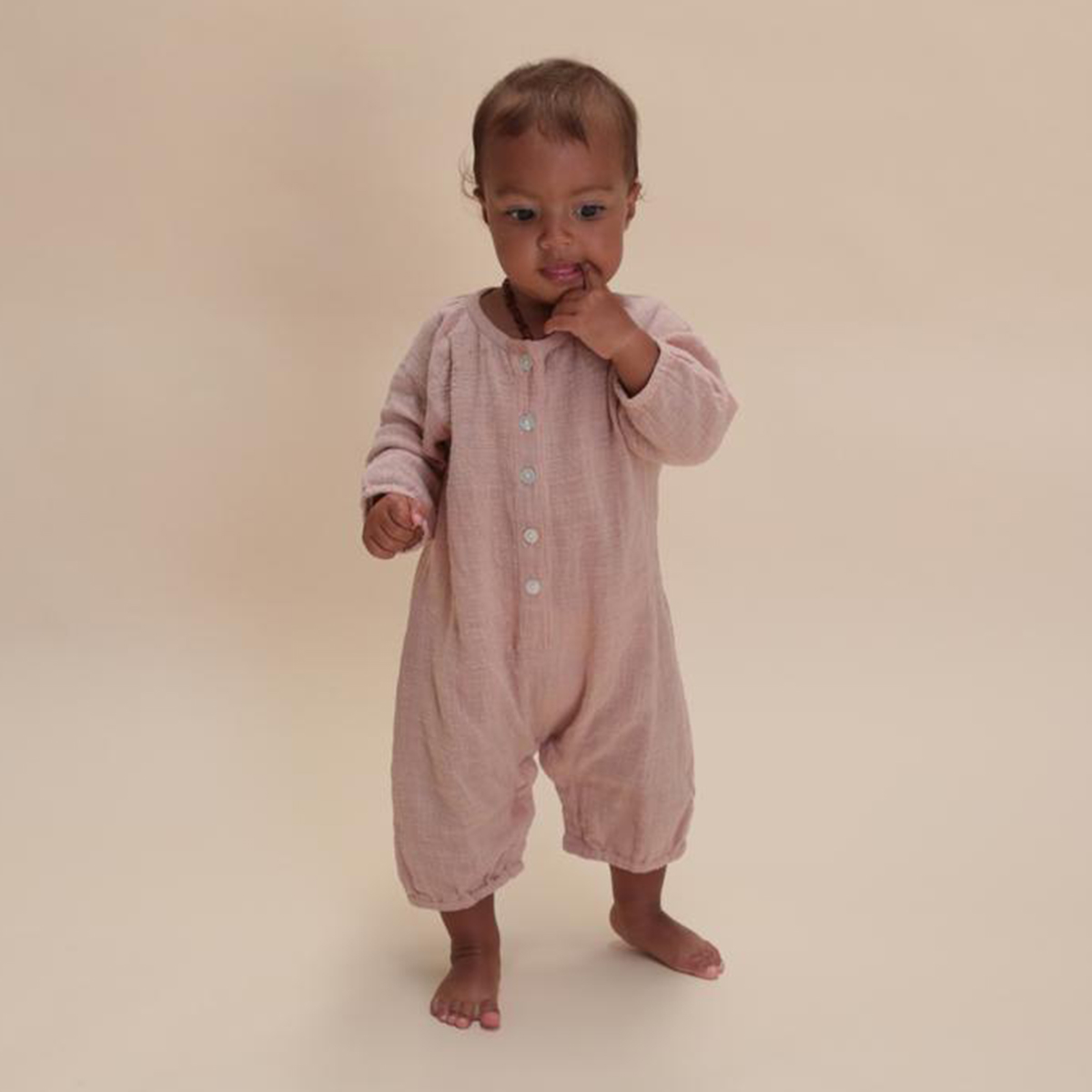 Summer and Storm Long Sleeve Playsuit in Misty Rose on baby