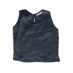 Summer and Storm Linen Singlet in Midnight Navy