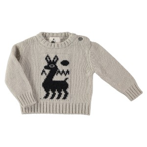 My Little Cozmo Knit Llama Sweater in Sand