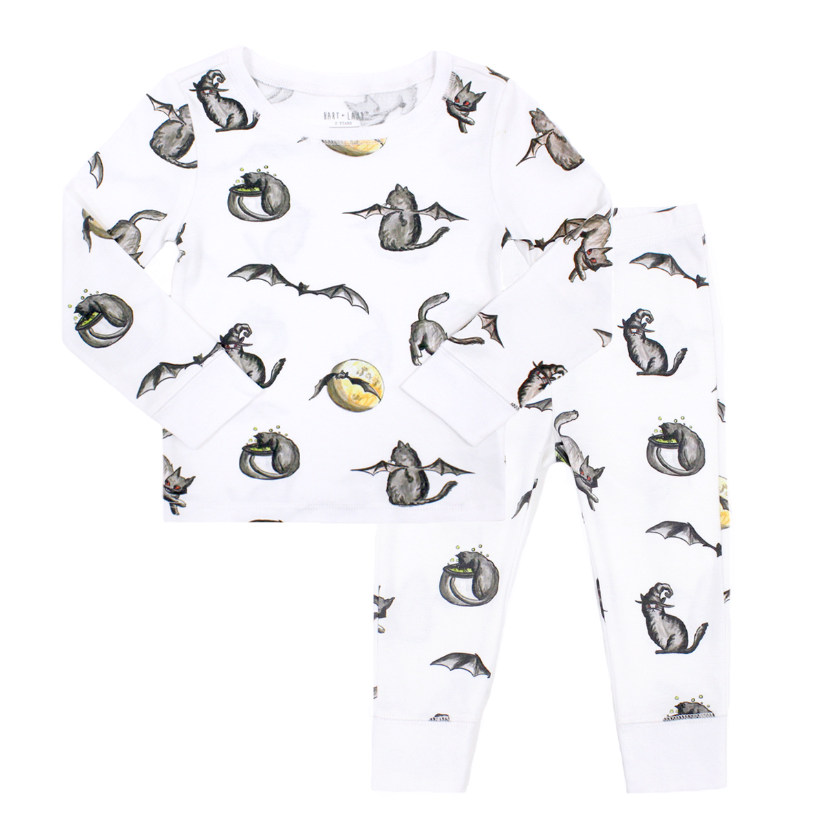 Hart & Land Pima Cotton Pajama Set in White with Black Halloween Cat Print