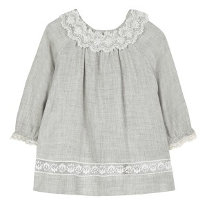 Tartine et Chocolat Lace Collar Dress in China Grey