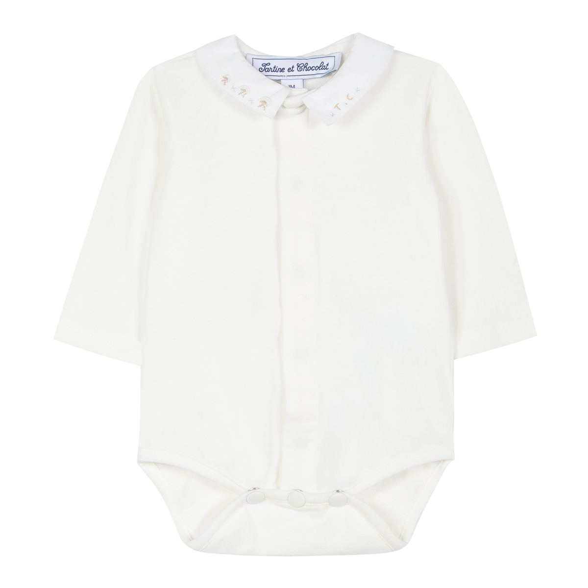 Tartine et Chocolat Long Sleeve Bodysuit with Embroidered Collar