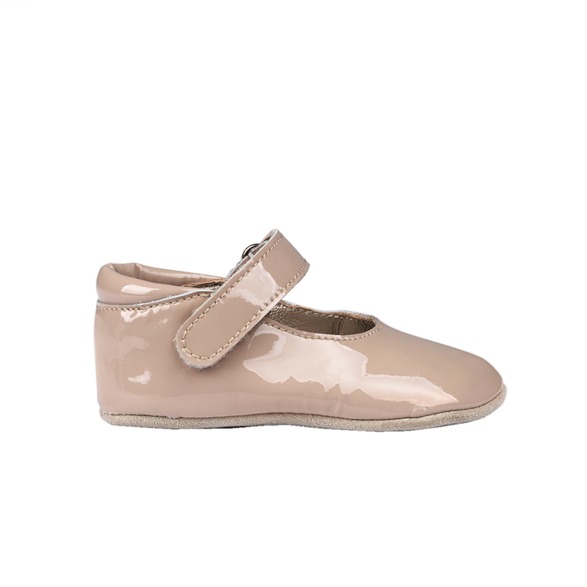 Petit Nord Patent Ballerina with Velcro Strap in Pale Rose