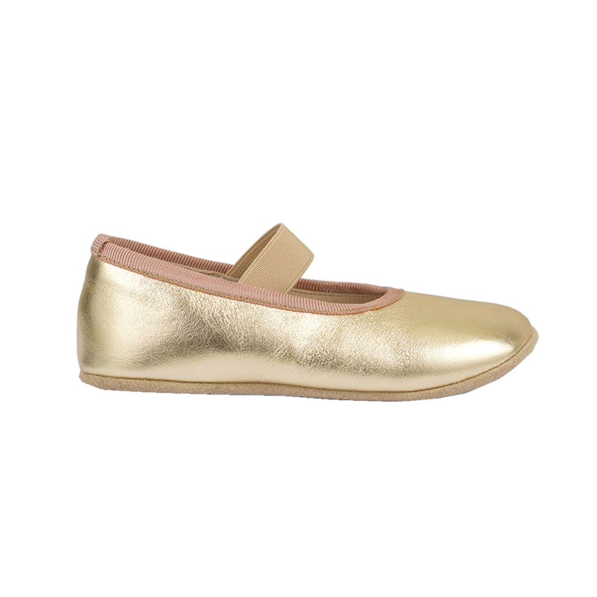 Petit Nord Gold Ballerina flats with elastic strap