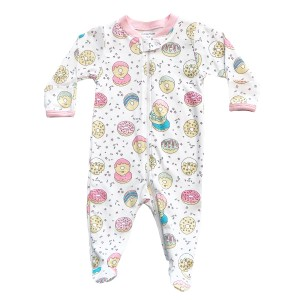 Baby Noomie Zipper Footie in White w/ Donuts