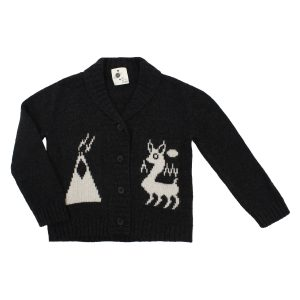 My Little Cozmo Knit Llama Cardigan in Black